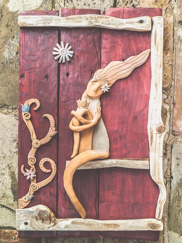 scultura legno e terracotta